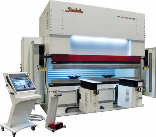 <p>Baykal APHS - NEO CNC Press Brakes, New type frame design, Energy saving European Hydraulic System, Delem 66T CNC Control Unit,  2 axis backgauge system (X- R), Motorized CNC crowning, Narrow table system, Akas II guard system, Motorized rear guard, 2 pieces brushed front arms</p>